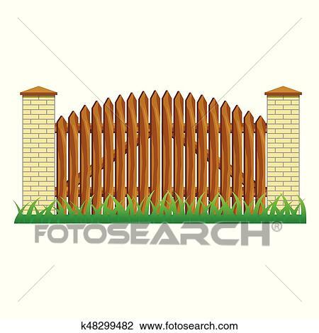 clipart of farm brick fence wall for landscape scene