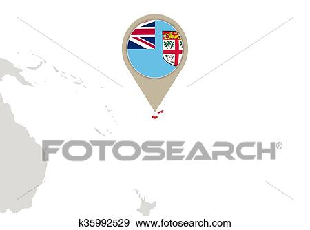 Clip art of fiji on world map k35992529 search clipart map with highlighted fiji map and flag gumiabroncs Gallery