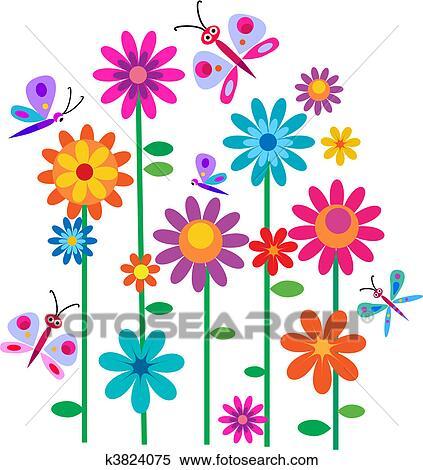 Clipart Frühling Blumen Und Schmetterlinge K3824075 Suche