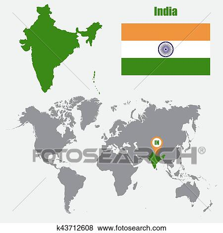 India Map Flag.Clip Art Of India Map On A World Map With Flag And Map Pointer