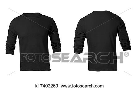 Stock Photograph of Men\'s Blank Black Long Sleeved Shirt Template ...