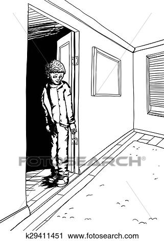 Clipart Of Outline Of Teen In Room With Window Blinds K29411451