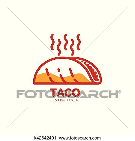 Clipart of Stylized hot, freshly made Mexican taco logo template ...