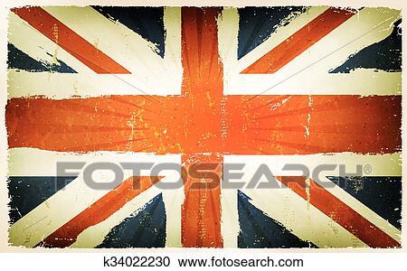 Vendemmia Inglese Bandiera Manifesto Fondo Clipart K34022230