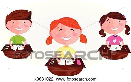 Cartone Animato Bambini In Aula Clipart K3831022