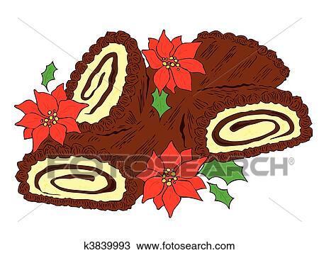 Klipart Czekolada święta Bożego Narodzenia Log K3839993
