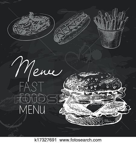 clipart of fast food hand drawn chalkboard design set black chalk