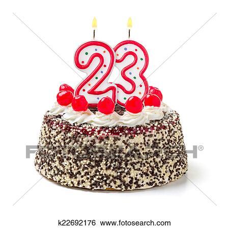 Gâteau Anniversaire à Brûlé Bougie Nombre 23 Banque De Photographies