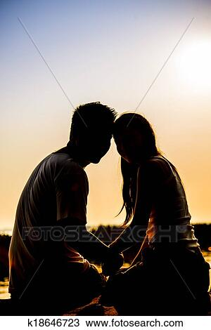Lovely Couple Sit In The Sunset With Silhouette Scene Drawing