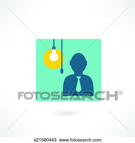 Clipart - mann, mit, a, glühbirne, symbol k21580443 - Suche Clip Art ...