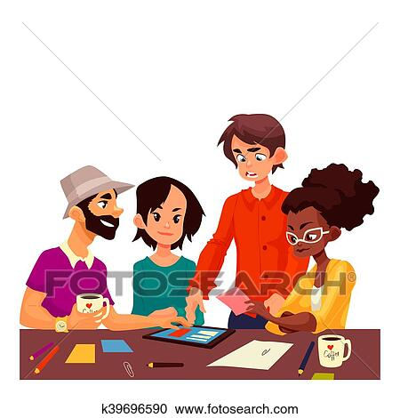 Stock Illustrations Of Multiethnic Group Of Young Creative People