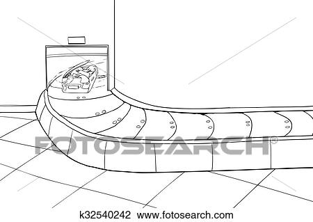 Outline of Damaged Suitcase in Luggage Carousel Drawing