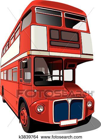 Red double decker bus clipart k3839764 fotosearch - Image de bus anglais ...