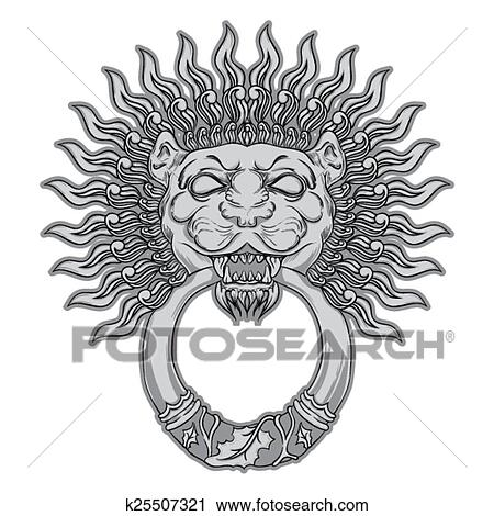 Silver Lion Head On Black Background Door Knocker Hand Drawn V Clipart