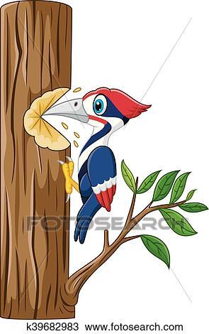 Woodpecker on the tree Clipart k39682983