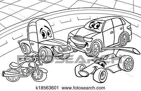 Autos Fahrzeuge Karikatur Färbung Seite Clipart
