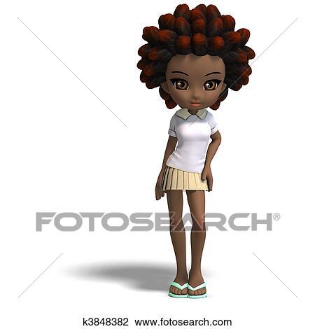Clip art carino poco cartone animato ragazza scuola con