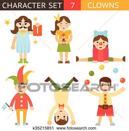 clipart of clown 1 april joke fun boys girls characters icon set