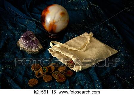 Divination runes amethyst and crystal ball Stock Photography