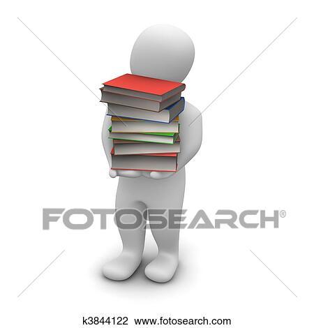 Homme Porter Eleve Pile De Livre Cartonne Books 3d Rendu Illustration Dessin