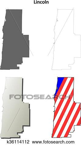 Clipart Of Lincoln County Oregon Outline Map Set K36114112 Search