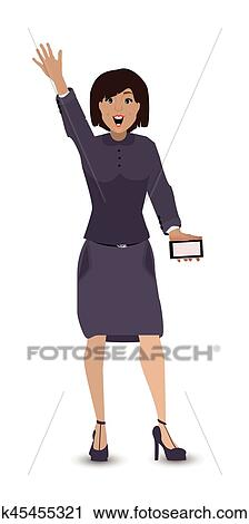 Clipart of man girl greeting hand up smart phone k45455321 search clipart man girl greeting hand up smart phone fotosearch search clip art m4hsunfo