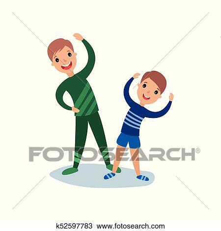 Clipart - papá, y, hijo, hacer, mañana, ejercicios, deporte, familia ...