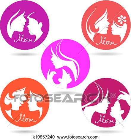 Clipart Of Set Of Mother And Baby Silhouette Symbols Happy Mothers