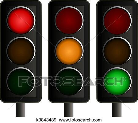 set of three traffic lights vector clip art k3843489 fotosearch https www fotosearch com csp384 k3843489