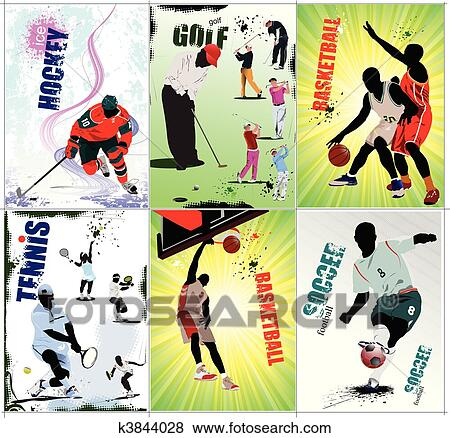 clip art of six sport posters football ice h k3844028 search