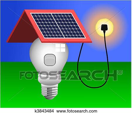 Clipart Of Solar Panels Energy Light Vector K3843484