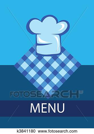 clipart of template for restaurant menu with chef hat k3841180