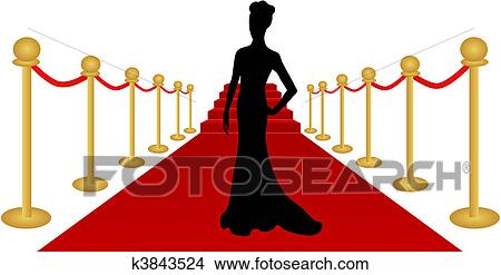 clipart of woman silhouette red carpet vector k3843524 search clip rh fotosearch com hollywood red carpet clip art red carpet clipart images