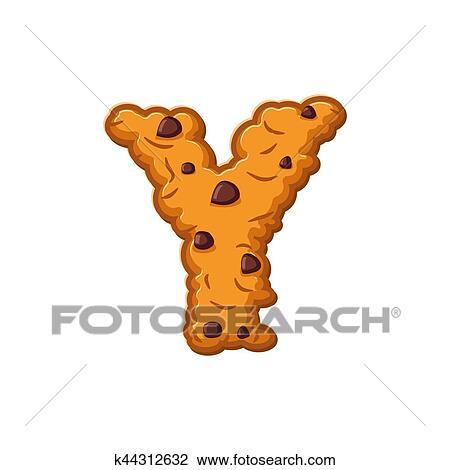 Clipart Y Lettre Cookies Petit Gateau Font Flocons Avoine