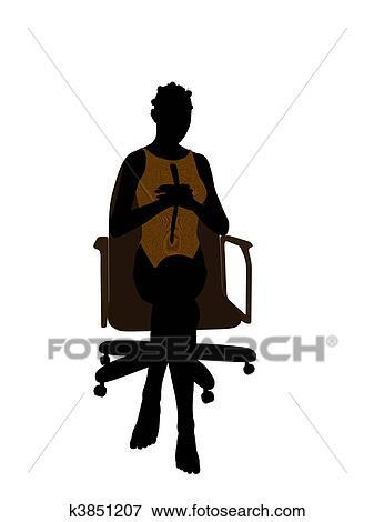 イラスト - アフリカ系アメリカ人の女性, 中に, a, 水着, 椅子に座る, シルエット. Fotosearch