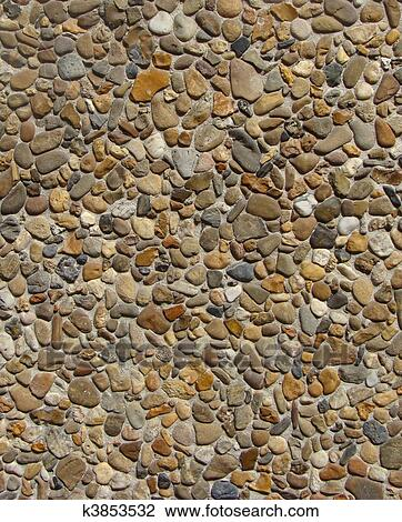 Mur En Cailloux banque de photo - béton, à, gris, blanc, orange, brun, pierre