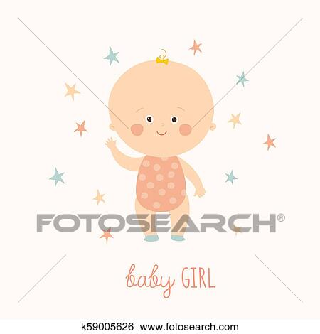 Baby Shower Card For Baby Girl Cute Baby Girl Standing Blond