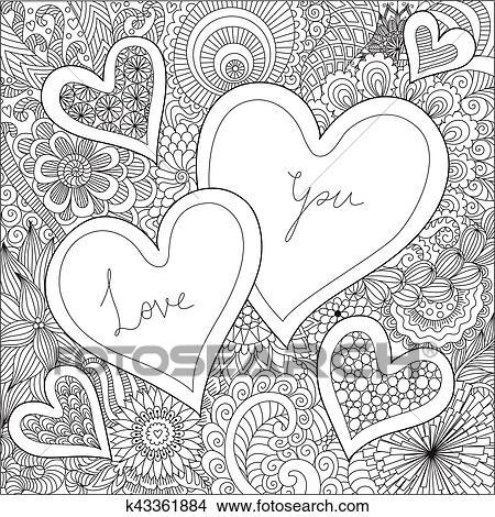 Clipart - corazones, en, flores, para, libros para colorear, para ...