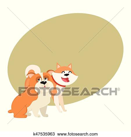 Cute Funny Dog Characters Japanese Akita Inu And English Bulldog