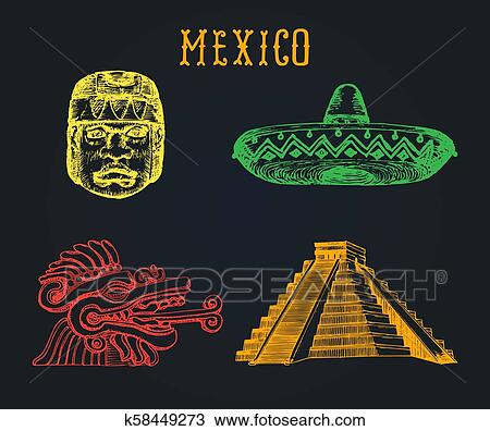 Clipart Of Drawn Set Of Famous Mexican Attractions Vector