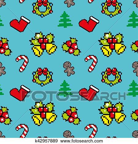 Fond à Noël Symboles Pixel Art Hiver Modèle Bleu Couleur Banque Dillustrations