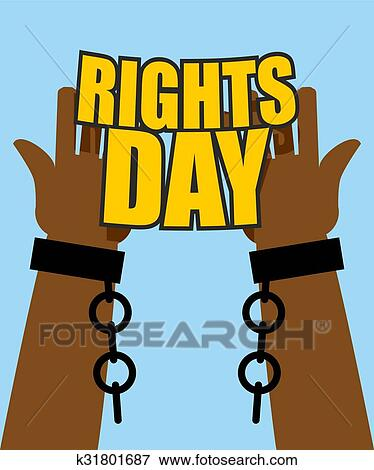 Human Rights Day Poster For International Festival Arm Slave With Broken Shackles Hands Free From Chains