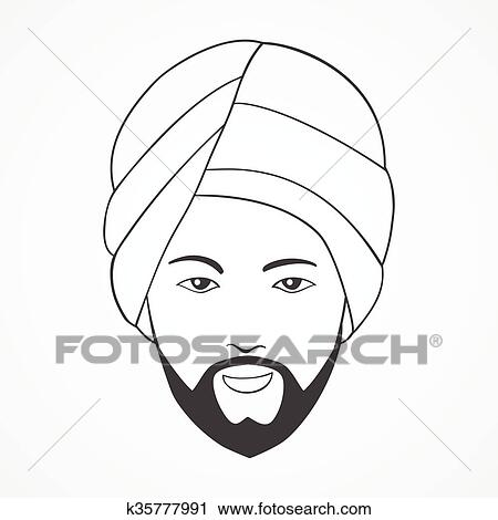 Clipart Of Indian Man Wearing A Turban K35777991