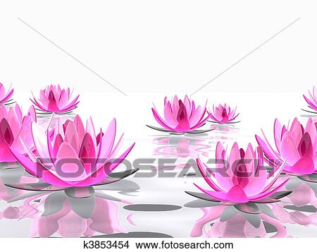 Drawings of lotus flower k3853454 search clip art illustrations 3d rendered illustration of elegant lotus flowers on water mightylinksfo