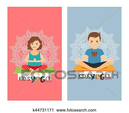 clipart of yoga kids vertical flyers set k44731171 search clip art