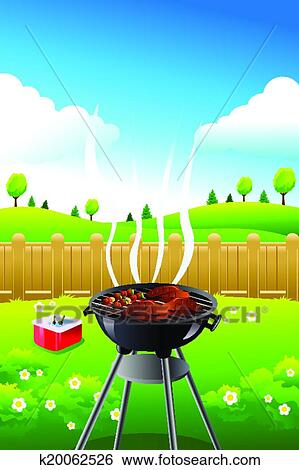 clip art of barbeque party poster k20062526 search clipart