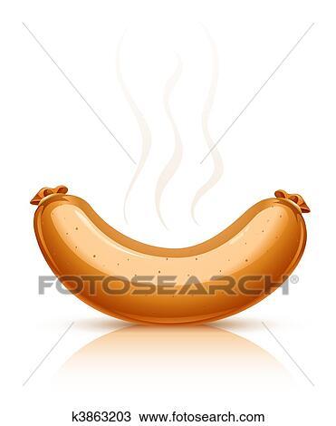 Caldo salsiccia con fumo clipart k3863203 fotosearch