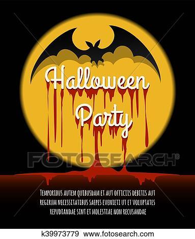 Halloween Poster Art.Happy Halloween Poster With Bat Clip Art
