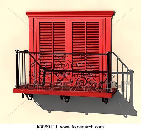Clipart Rot Balkon In Starke Summer Licht K3869111 Suche