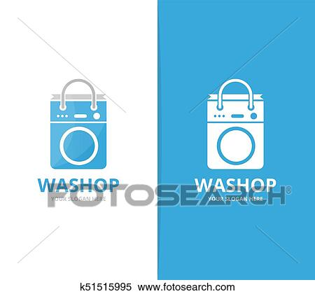 Clipart Of Vector Of Laundry And Bag Logo Combination Washing